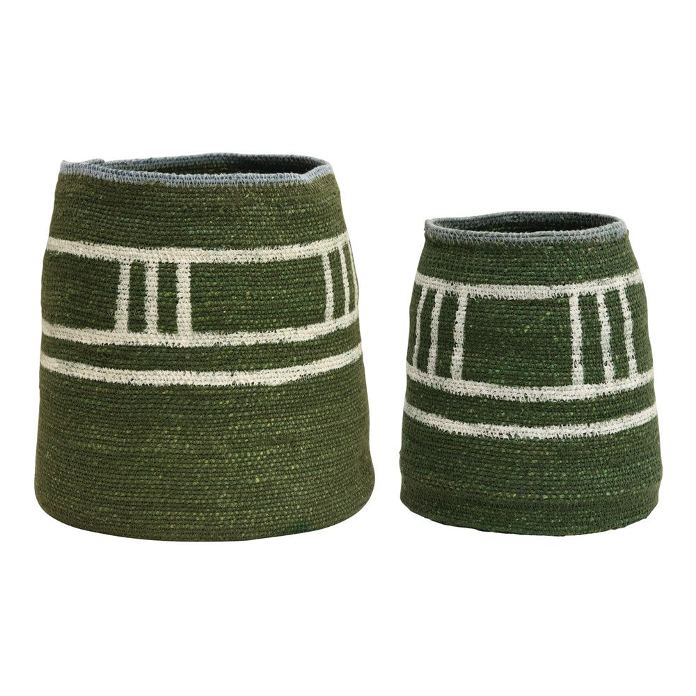 Green with White Stripes Hand-Woven Seagrass Basket (Small)
