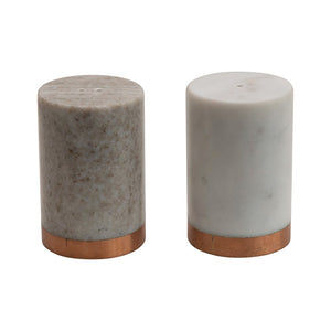 Marble Salt & Pepper Shakers with Copper Base