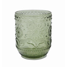 Load image into Gallery viewer, Green Embossed Drinking Glass