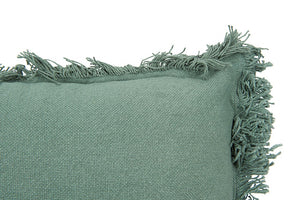 Cotton Pillow w/ Fringe Green