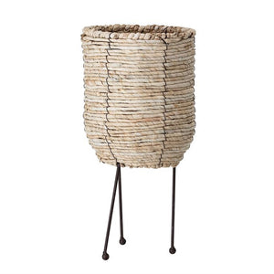 Small Natural Woven Rope Basket w/ Metal Legs