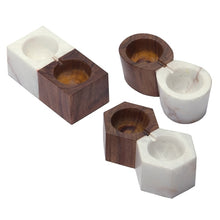 Load image into Gallery viewer, Marble & Wood Salt & Pepper Cellar w/ Silver Spoon (3 Styles)