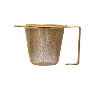 Stainless Steel Tea Strainer w/Gold Finish