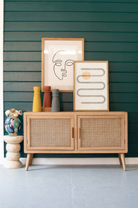 Wood Console with Woven Cane Doors