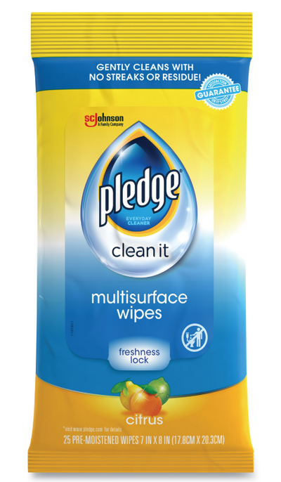Pledge Multi-Surface Cleaner Wet Wipes, Cloth, 7 x 10, Fresh Citrus, 25/Pack
