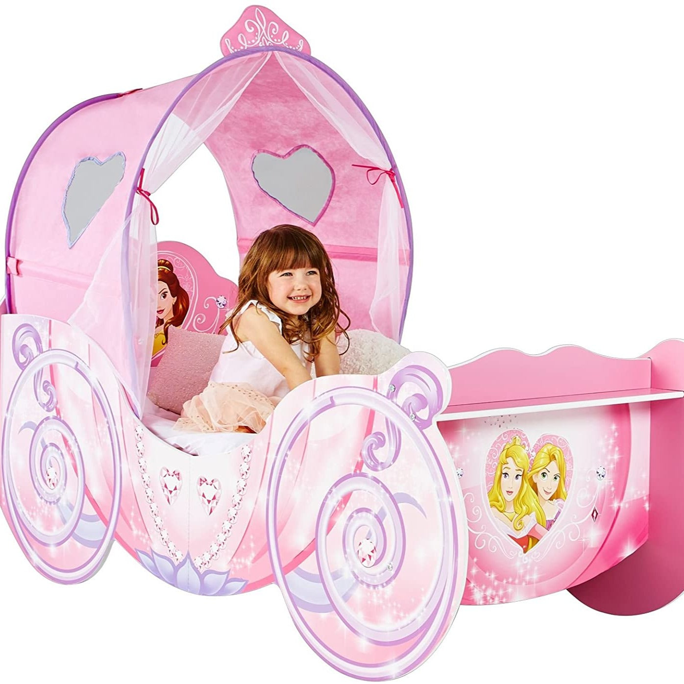 Image of: Disney Princess Carriage With Light Up Canopy Toddler Bed Cotandcandy