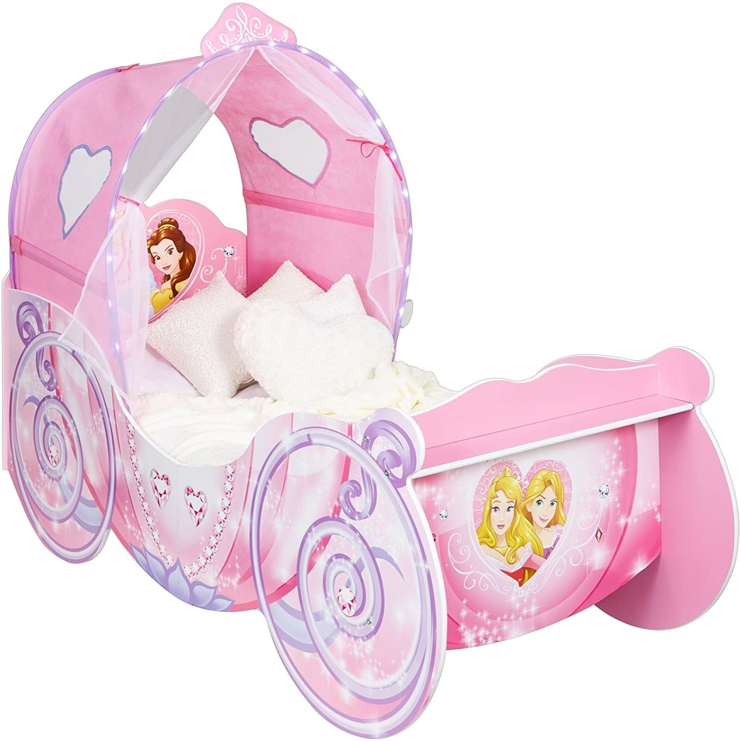 Disney Princess Carriage With Light Up Canopy Toddler Bed Cotandcandy