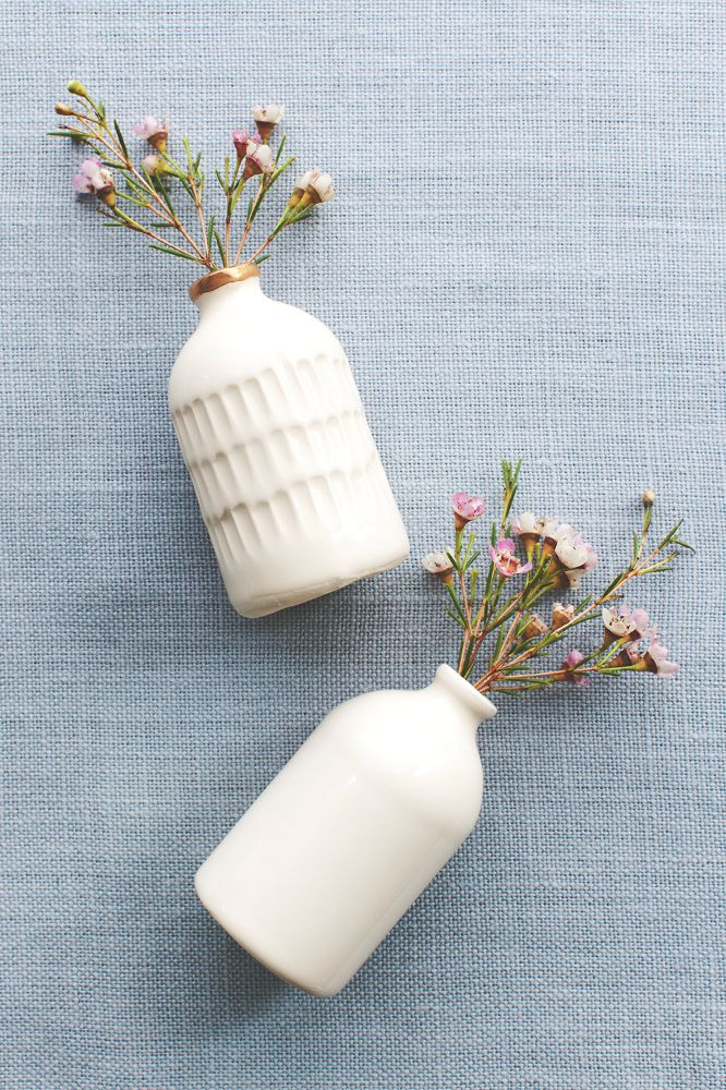 Carved Porcelain Bitters Bottle with Gold Rim