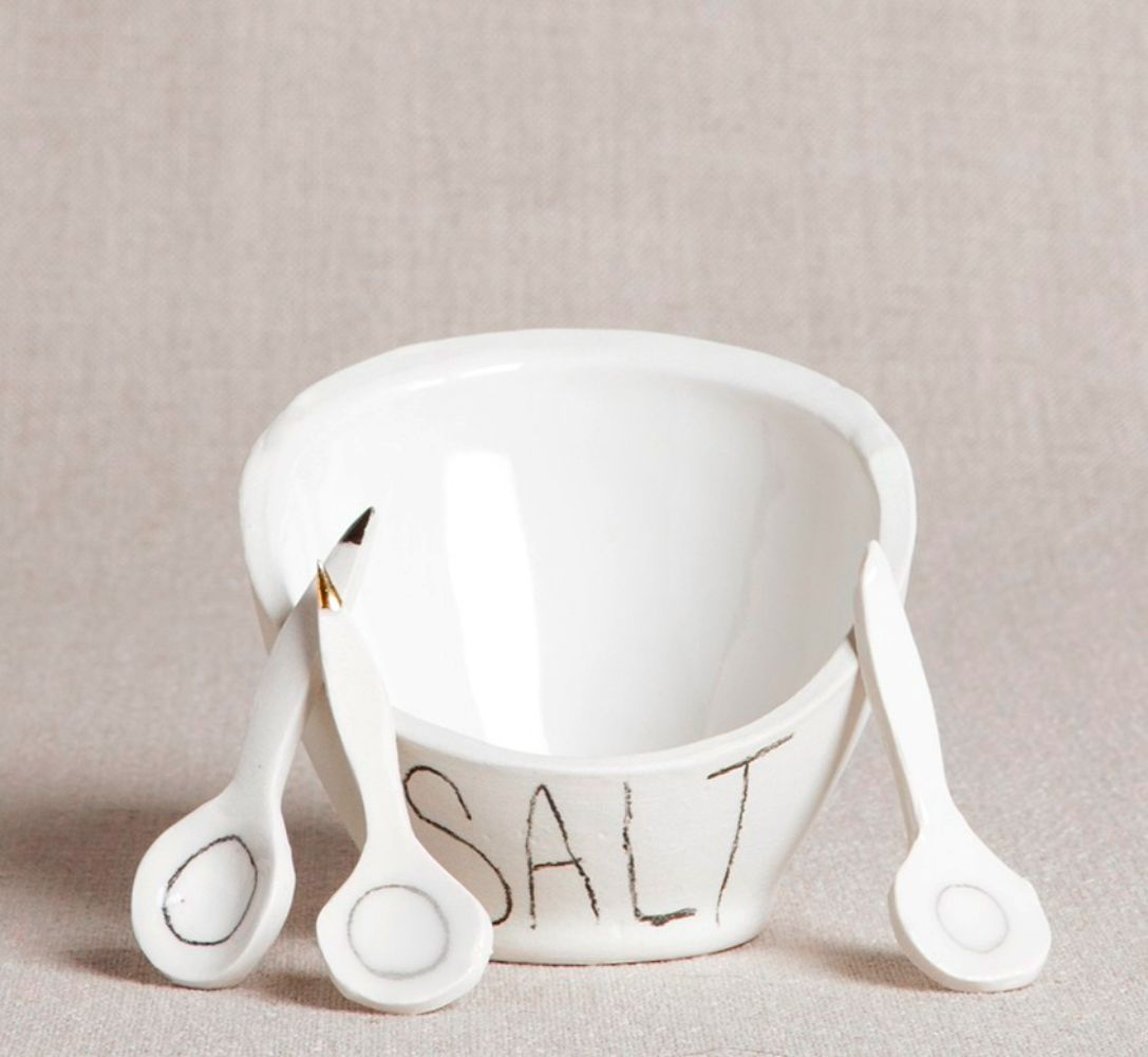 Porcelain Salt Cellar with Gold Tipped Spoon