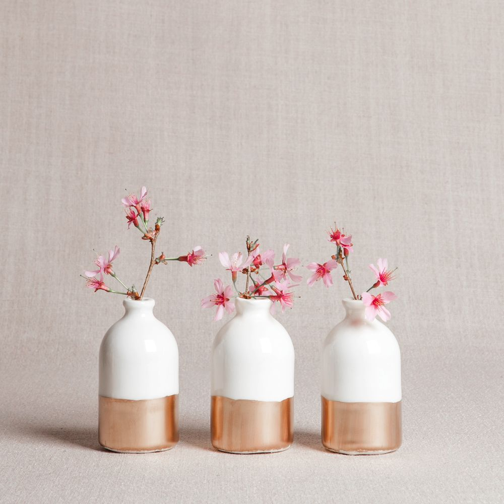 White and Gold Minimalist Bud Vases // Set of Three