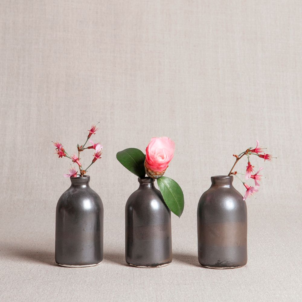 Black Minimalist Bud Vases // Set of Three