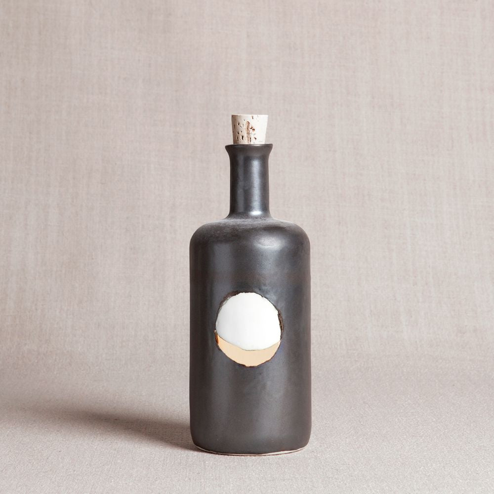 Waxing Moon Bottle in Metallic Black