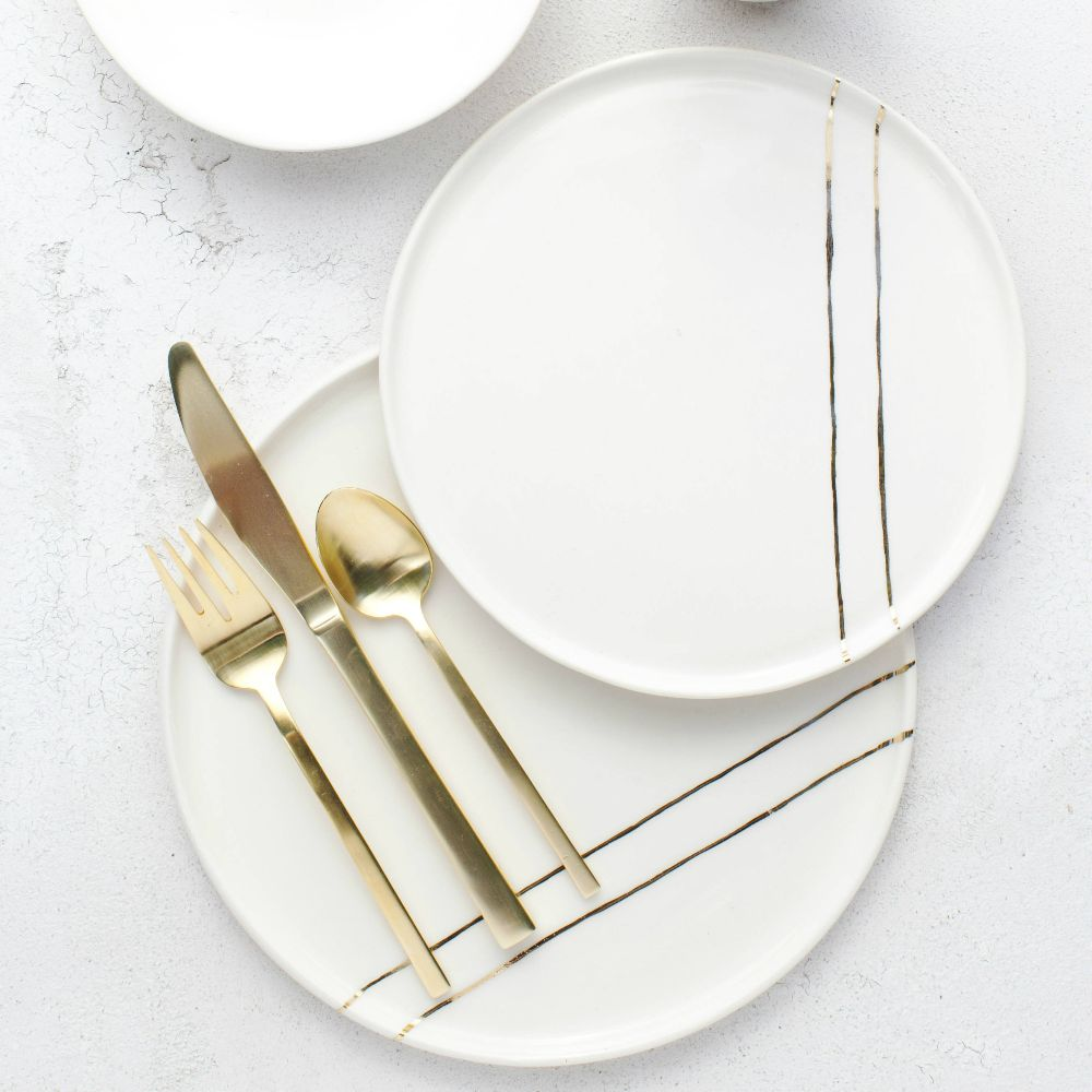 White + Gold Stripe - Salad Plate