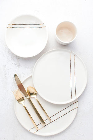 White and Gold Stripe - Full Setting