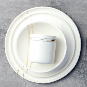 White + Gold Stripe - Tumbler