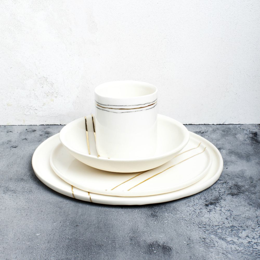 White + Gold Stripe - Breakfast Bowl
