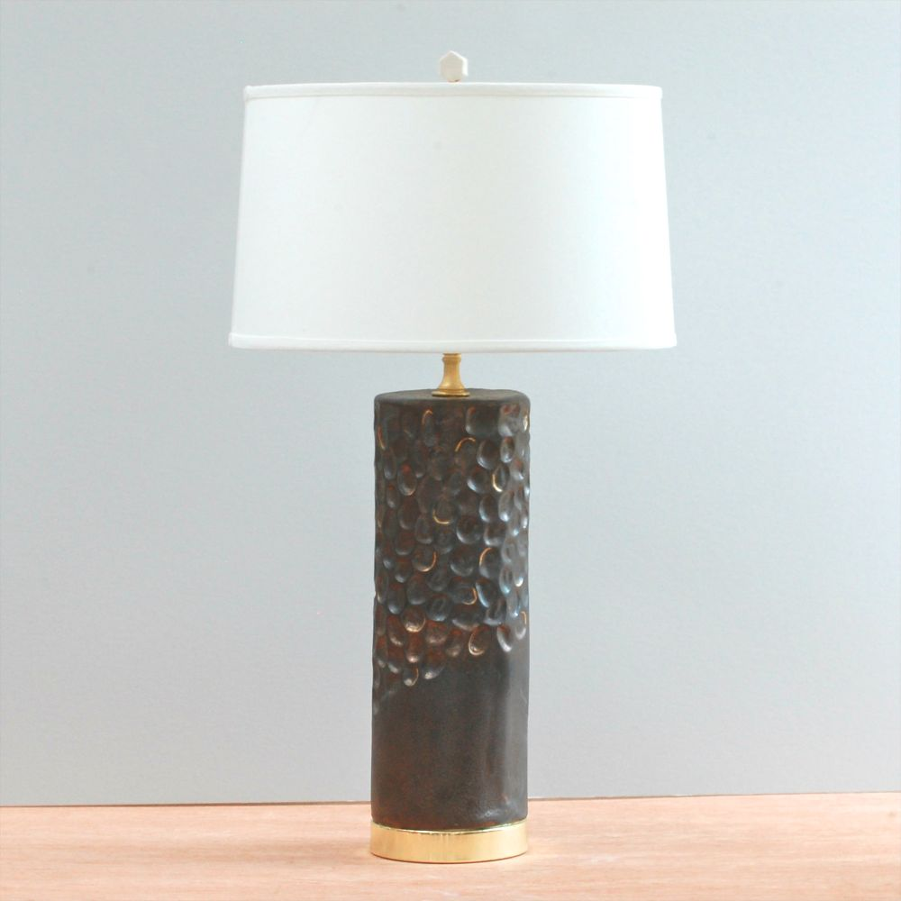 Carved Lamp - Metallic Black