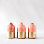 Coral+ Gold Minimalist Bud Vases // Set of Three
