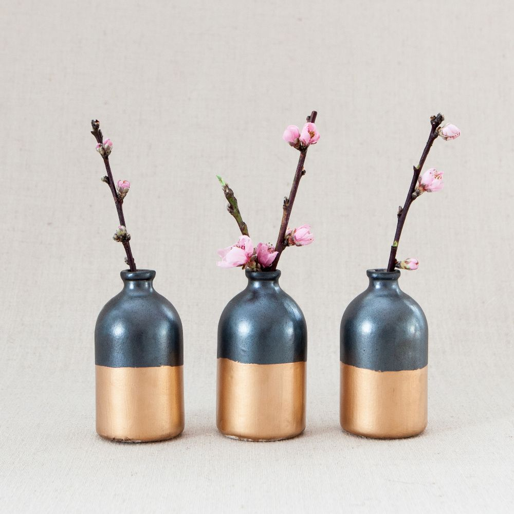 Black + Gold Minimalist Bud Vases // Set of Three