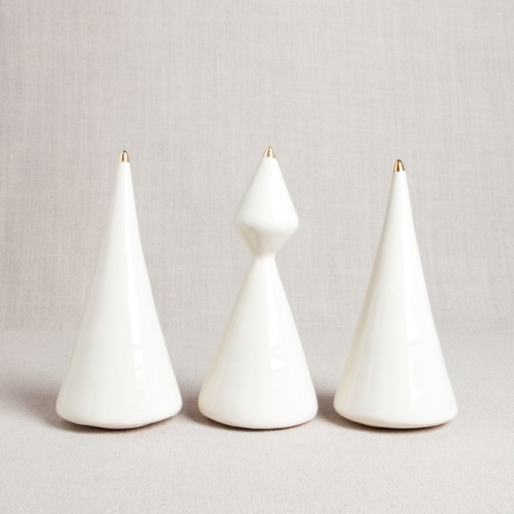 Minimalist Porcelain Christmas Tree // Set of Three