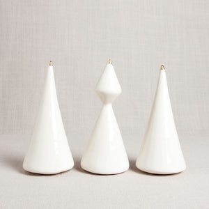 Minimalist Porcelain Christmas Tree // Triangle with Gold Tip