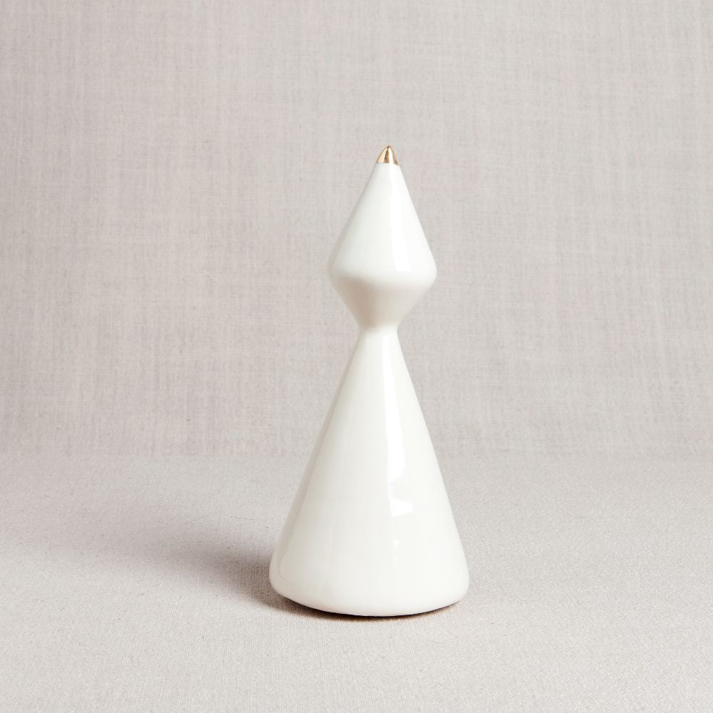 Minimalist Porcelain Christmas Tree // Curvy with Gold Tip
