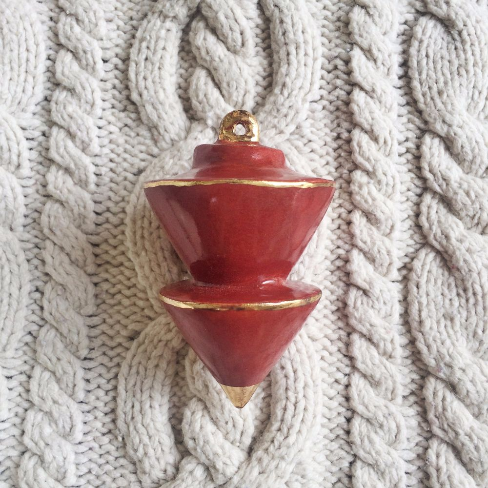 Heirloom Christmas Ornament // Angular Oxblood Red & Gold