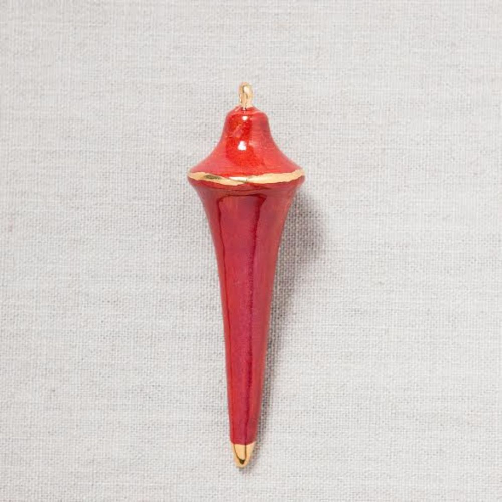 Heirloom Christmas Ornament // Triangle Oxblood Red & Gold