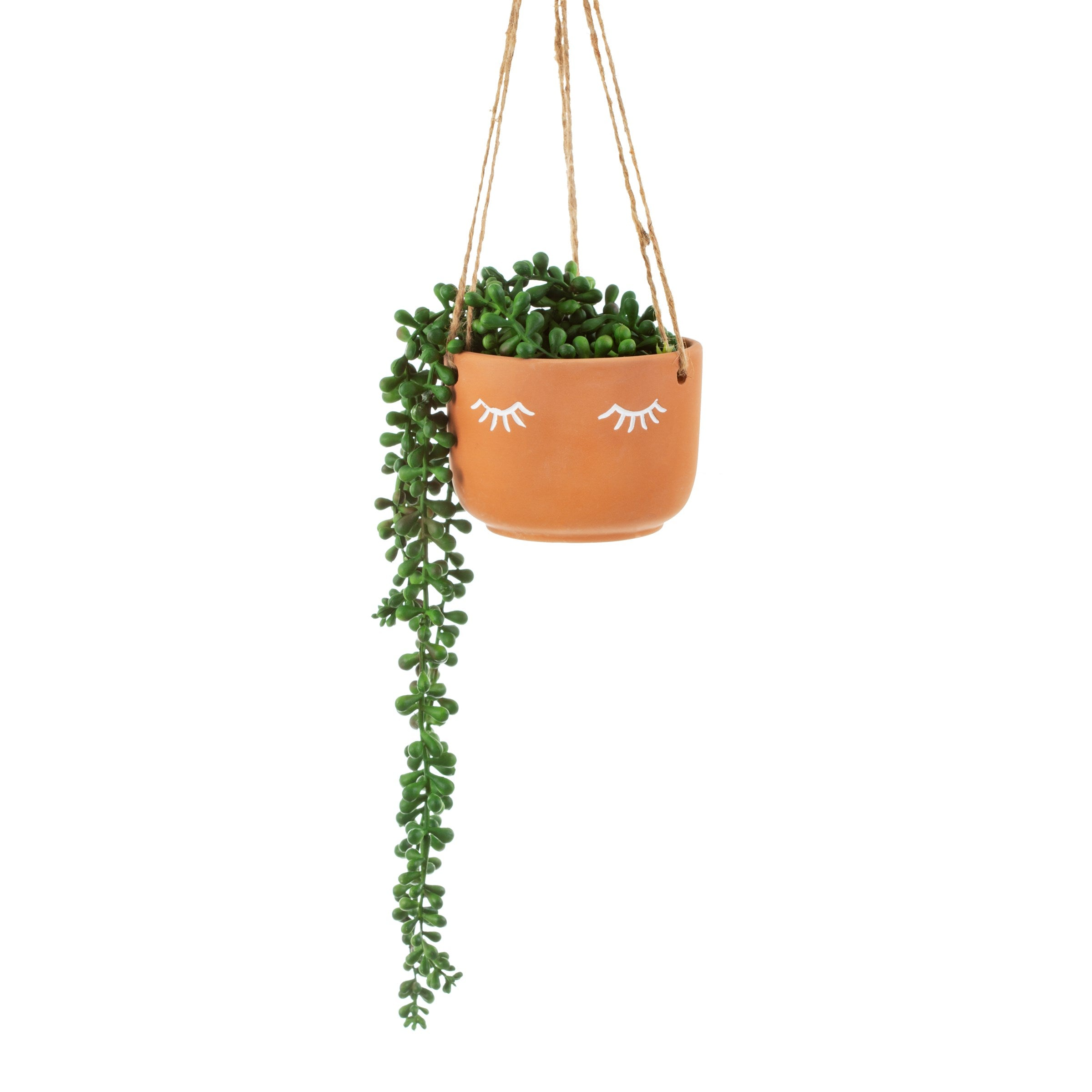 Eyes shut terracotta hanging planter