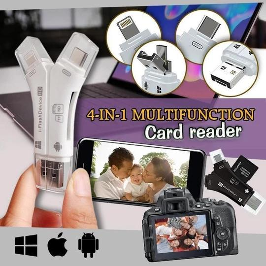 Versatile High Speed 4-in-1  SD Card Reader For All Devices