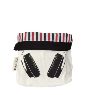 Black Headphone Case - Designed with Red and Blue Stripes Bag-all