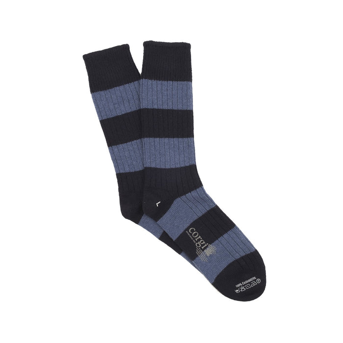 Men's Luxury Rib Rugby Stripe Pure Cashmere Socks
