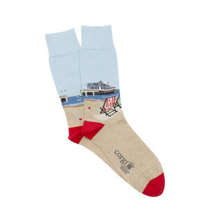 Men's British Seaside Scene Cotton Socks