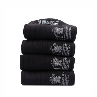 Men's Four Pack of Plain Rib Cotton Socks