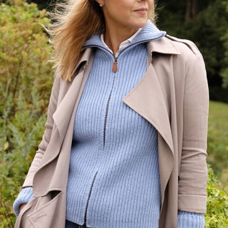 Women's Pure Cashmere Ribbed Zip Jacket