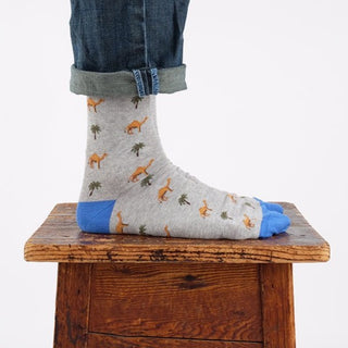 Men's Palm Tree and Camel Cotton Socks