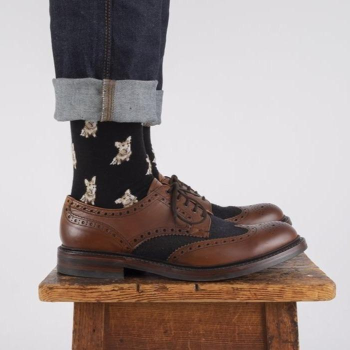 Men's Sitting Corgi Cotton Socks
