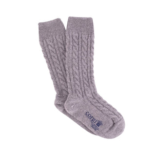 Women's Luxury Hand Knitted Prince of Wales Cable Pure Cashmere Socks