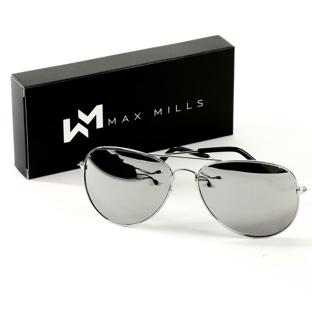 Max Mills Unisex Aviator Sunglasses  - UV400 Protection - Gents Garms