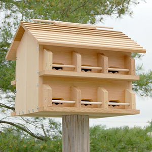 Starling Resistant Heath Cedar Purple Martin House with Crescent Entrance Holes