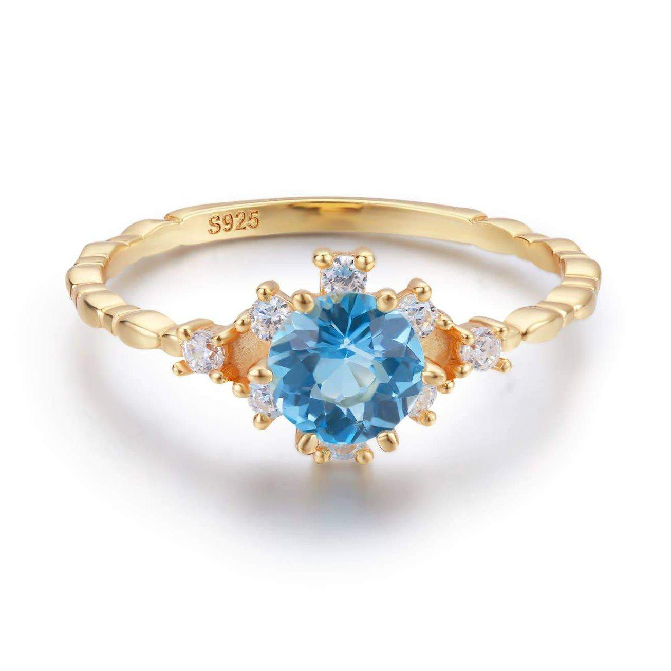 Clarity Blue Topaz Ring-Rings-Lunar Lapis