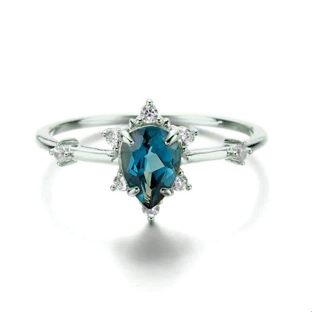 Gaia London Blue Topaz Ring-Rings-Lunar Lapis