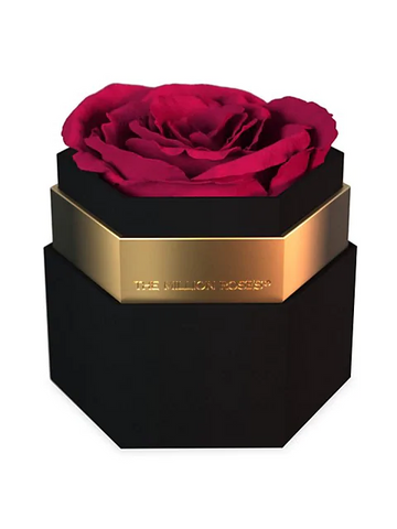 One In A Million Rose in Black Hexagon Box