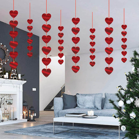 Red Hearts Foil Garlands