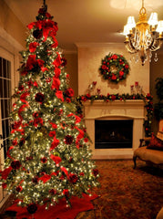 Red and gold christmas tree decoration ideas with ribbon