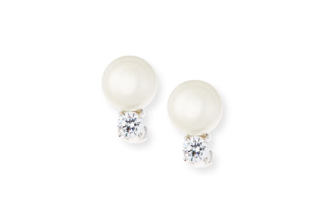 Romantic gift for her Pearly Bead and Crystal Stud Earrings