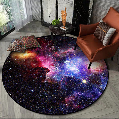 Round Soft Universe Themed Rug