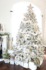 White christmas tree decoration ideas flocked tree with silver pearl-ornaments