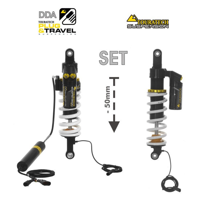 50mm Lowering Shock Absorber Front & Rear DDA/Plug & Travel (Reservoir, High & Low Speed) - BMW R1250GS, R1200GS from 2017