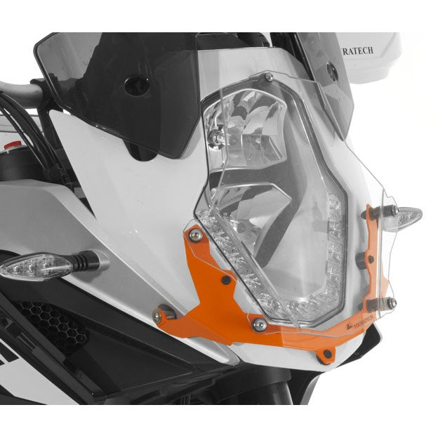 Headlight Guard Makrolon Orange Quick-Release - KTM Adventure 1050, 1090 /R, 1190 /R all years & 1290 up to 2016